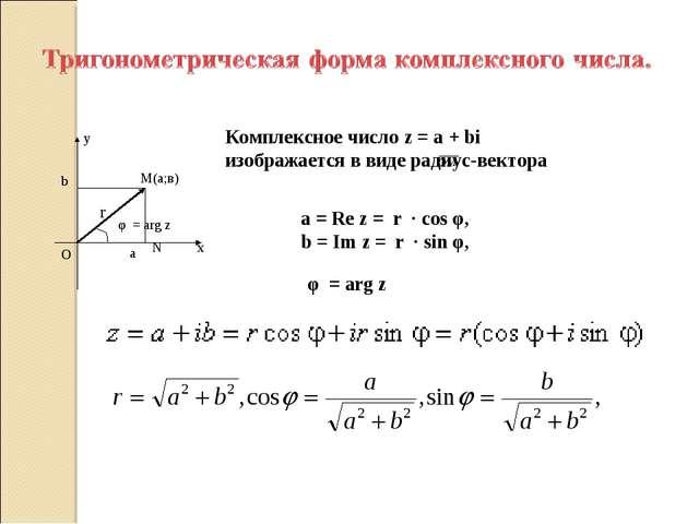 Комплексное число z = a + bi изображается в виде радиус-вектора a = Re z = r...