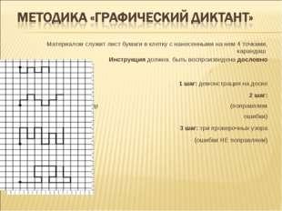 Материалом служит лист бумаги в клетку с нанесенными на нем 4 точками, каранд