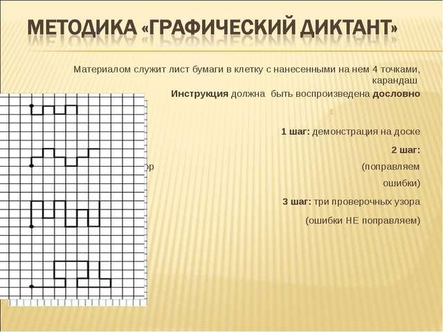 Материалом служит лист бумаги в клетку с нанесенными на нем 4 точками, каранд...