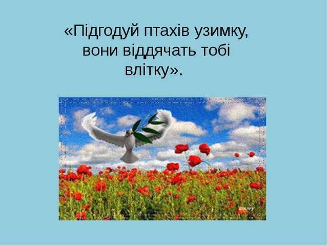 «Підгодуй птахів узимку, вони віддячать тобі влітку».