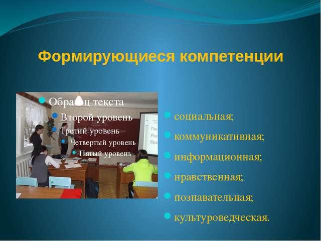Формирующиеся компетенции социальная; коммуникативная; информационная; нравст...