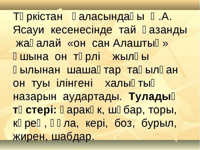Түркістан қаласындағы Қ.А. Ясауи кесенесінде тай қазанды жағалай «он сан Алаш...