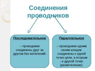 Соединения проводников Последовательное – проводники соединены друг за другом