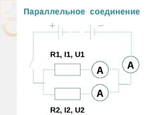 Параллельное соединение R1, I1, U1 R2, I2, U2 А А А