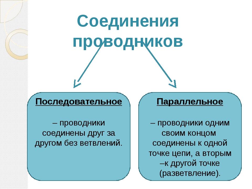 Соединения проводников Последовательное – проводники соединены друг за другом...