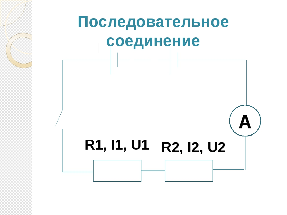 Последовательное соединение R1, I1, U1 R2, I2, U2 А