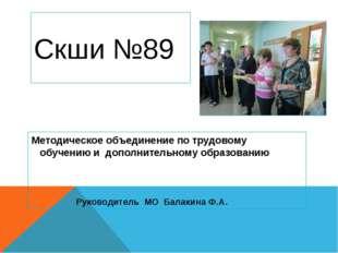 Скши №89 Методическое объединение по трудовому обучению и дополнительному обр