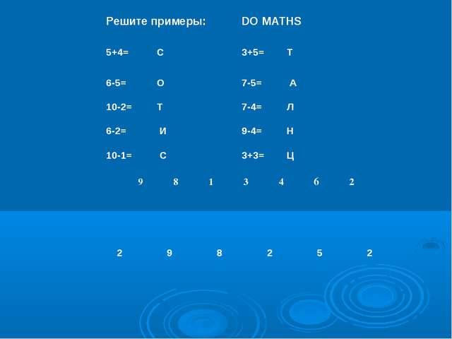 Решите примеры:DO MATHS 5+4= С3+5=Т 6-5= О 7-5= А 10-2= Т7-4=Л...