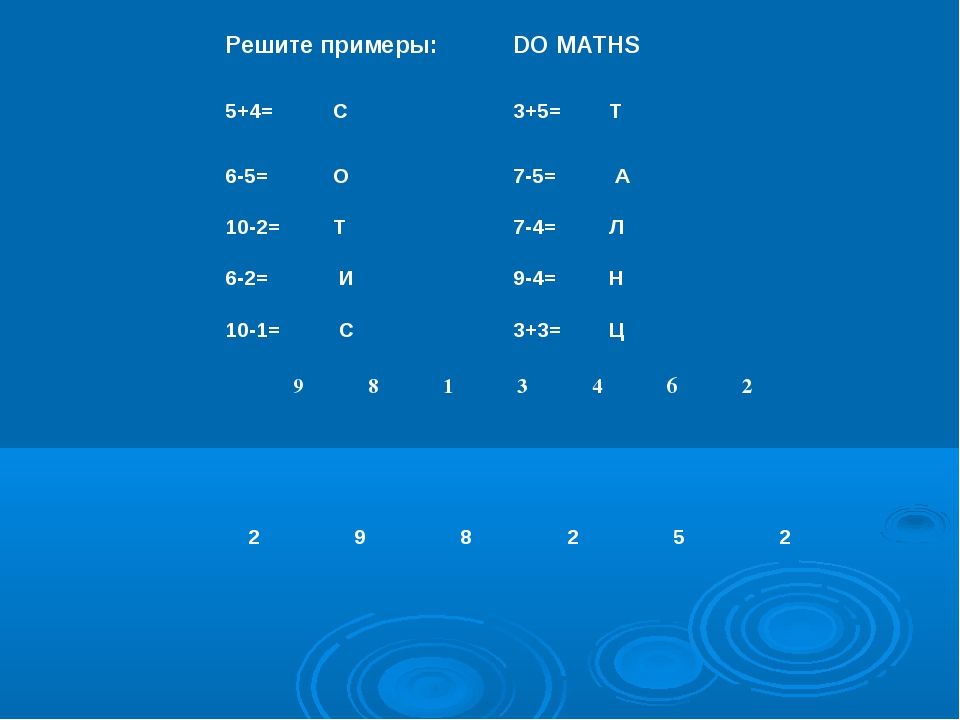 Решите примеры:	DO MATHS 5+4=	 С		3+5=	Т	 6-5=	 О 		7-5=	 А 10-2=	 Т		7-4=	Л...