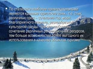 По статистике наиболее привлекательными являются краевые туристские зоны, т.е