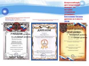 Всероссийский дистанционный конкурс по истории «Семейная реликвия». Бессонова