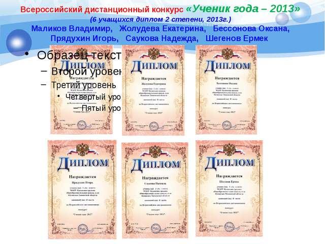 Всероссийский дистанционный конкурс «Ученик года – 2013» (6 учащихся диплом 2...