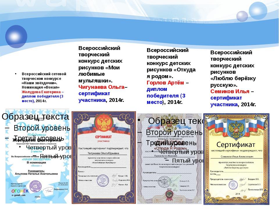 Всероссийский сетевой творческом конкурсе «Наши звёздочки». Номинация «Вокал»...
