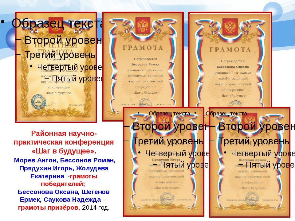 Районная научно-практическая конференция «Шаг в будущее». Морев Антон, Бессон...