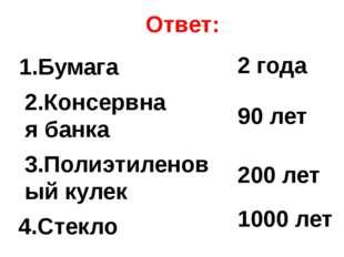 Ответ: 1.Бумага 2 года 2.Консервная банка 3.Полиэтиленовый кулек 4.Стекло 90