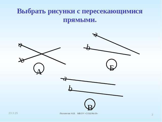 Выбрать рисунки с пересекающимися прямыми. a b А a b Б a b В Логинова Н.В. МБ...