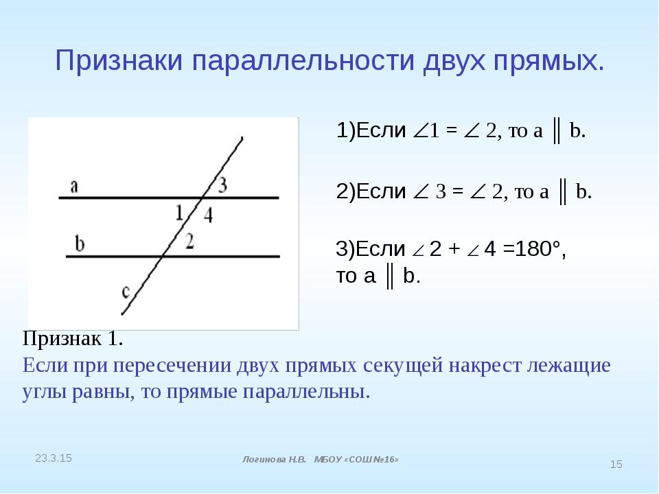 Признаки параллельности двух прямых. 1)Если 1 =  2, то а ║ b. Признак 1. Ес...