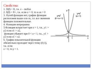 Свойства: 1. D(f) = R, т.к. х – любое 2. Е(f) = R+, т.к. если a > 0, то и ax