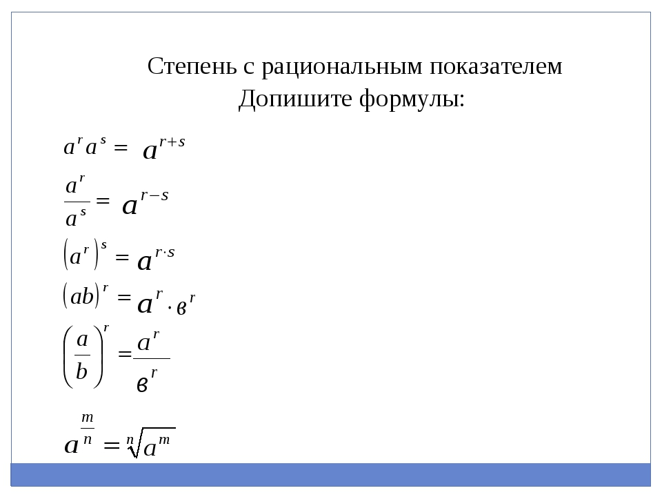 Допишите формулы: Степень с рациональным показателем