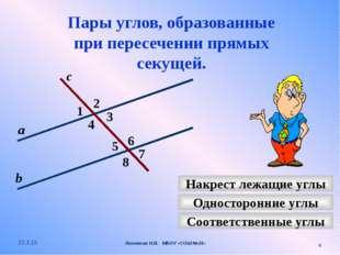 Пары углов, образованные при пересечении прямых секущей. 2 1 4 с 7 3 8 6 5 На