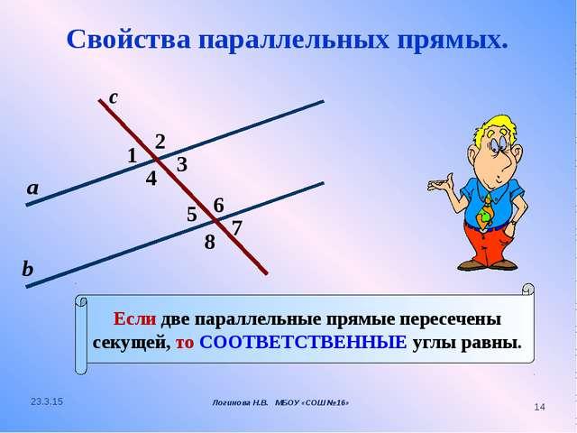 2 1 4 с 7 3 8 6 5 а b Если две параллельные прямые пересечены секущей, то СОО...