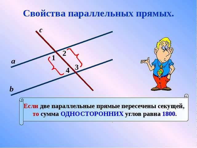 1 с 2 3 4 а b Если две параллельные прямые пересечены секущей, то сумма ОДНОС...