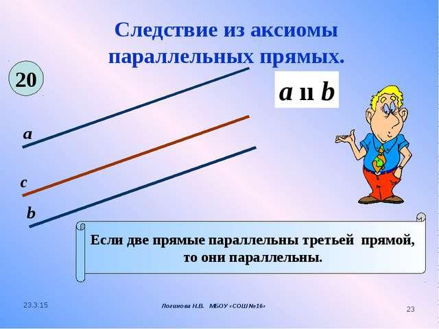 Следствие из аксиомы параллельных прямых. Если две прямые параллельны третьей...