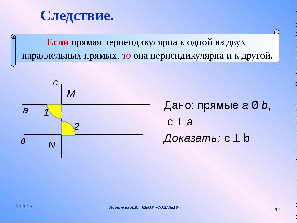 Дано: прямые a ∥ b, c  a Доказать: c  b а M в 1 2 N с Следствие. Если пряма...
