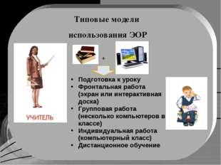 Типовые модели использования ЭОР Подготовка к уроку Фронтальная работа (экран