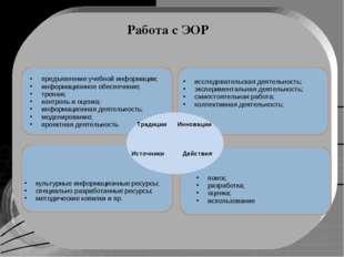 Работа с ЭОР предъявление учебной информации; информационное обеспечение; тре