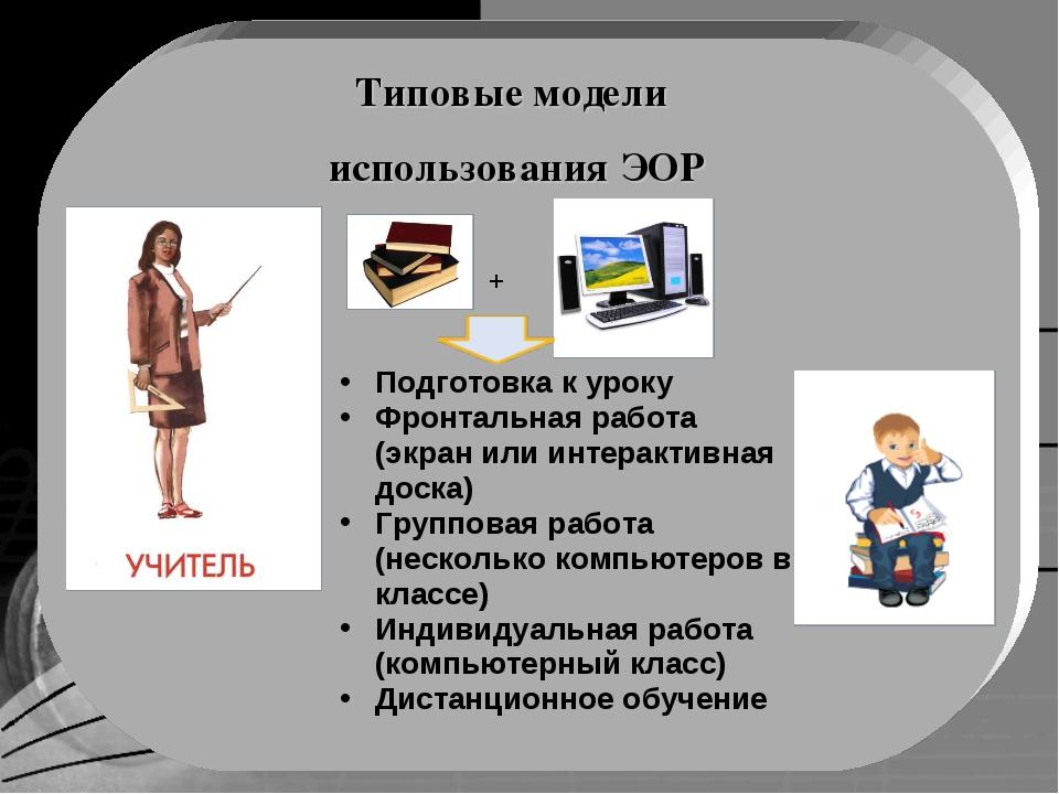 Типовые модели использования ЭОР Подготовка к уроку Фронтальная работа (экран...