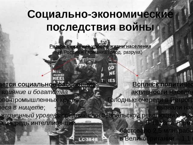 Социально-экономические последствия войны Усиливается социальное расслоение:...
