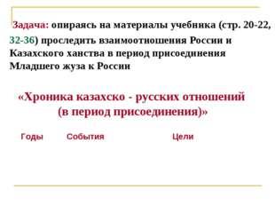 «Хроника казахско - русских отношений (в период присоединения)» Задача: опира