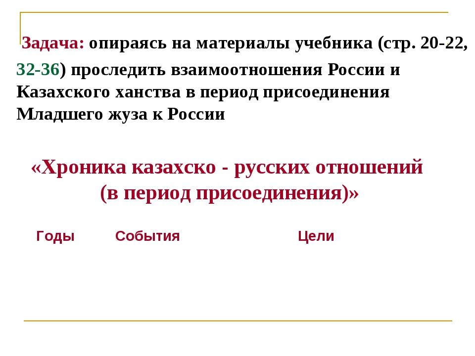 «Хроника казахско - русских отношений (в период присоединения)» Задача: опира...
