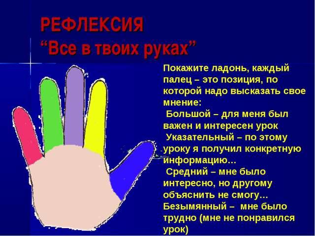 """РЕФЛЕКСИЯ """"Все в твоих руках"""" Покажите ладонь, каждый палец – это позиция, по..."""