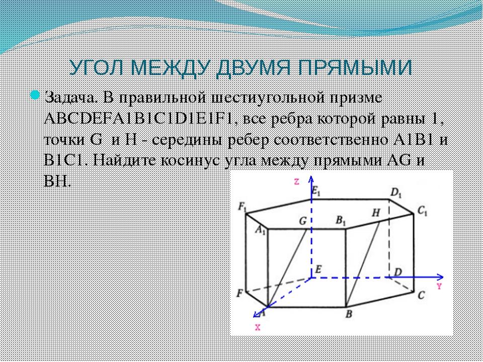 УГОЛ МЕЖДУ ДВУМЯ ПРЯМЫМИ Задача. В правильной шестиугольной призме АВСDEFА1В1...
