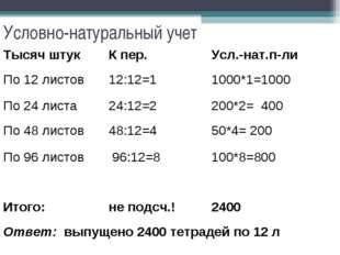 Условно-натуральный учет Тысяч штукК пер.Усл.-нат.п-ли По 12 листов12:12=1