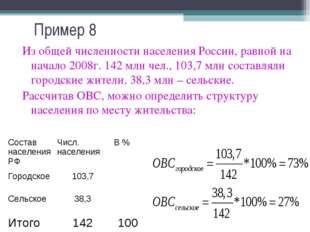 Пример 8 Из общей численности населения России, равной на начало 2008г. 142