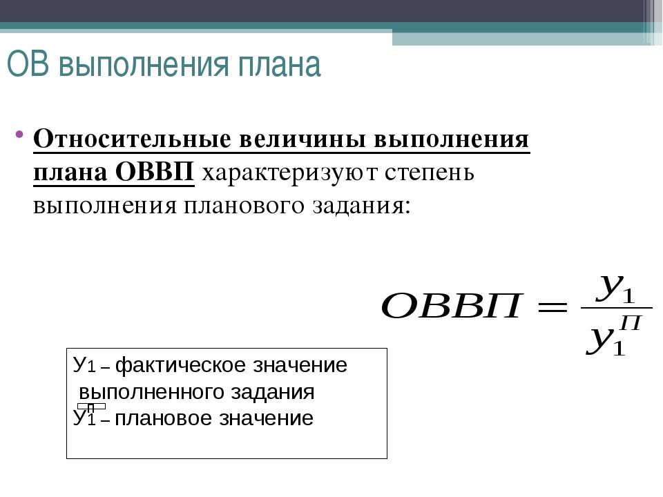 ОВ выполнения плана Относительные величины выполнения плана ОВВП характеризую...