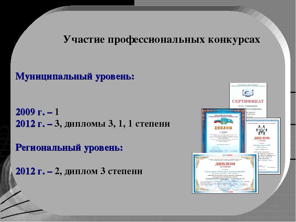 Муниципальный уровень: 2009 г. – 1 2012 г. – 3, дипломы 3, 1, 1 степени Регио...