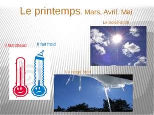 Le printemps. Mars, Avril, Mai Il fait chaud Il fait froid Le soleil drille L