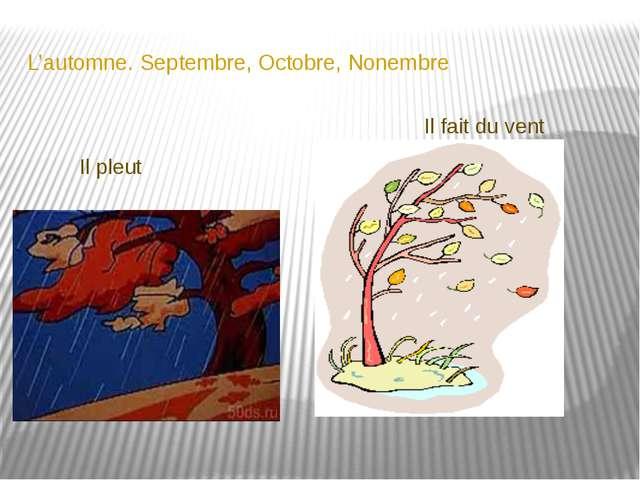 L'automne. Septembre, Octobre, Nonembre Il pleut Il fait du vent