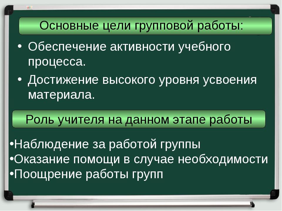 Основные цели групповой работы: Обеспечение активности учебного процесса. Дос...