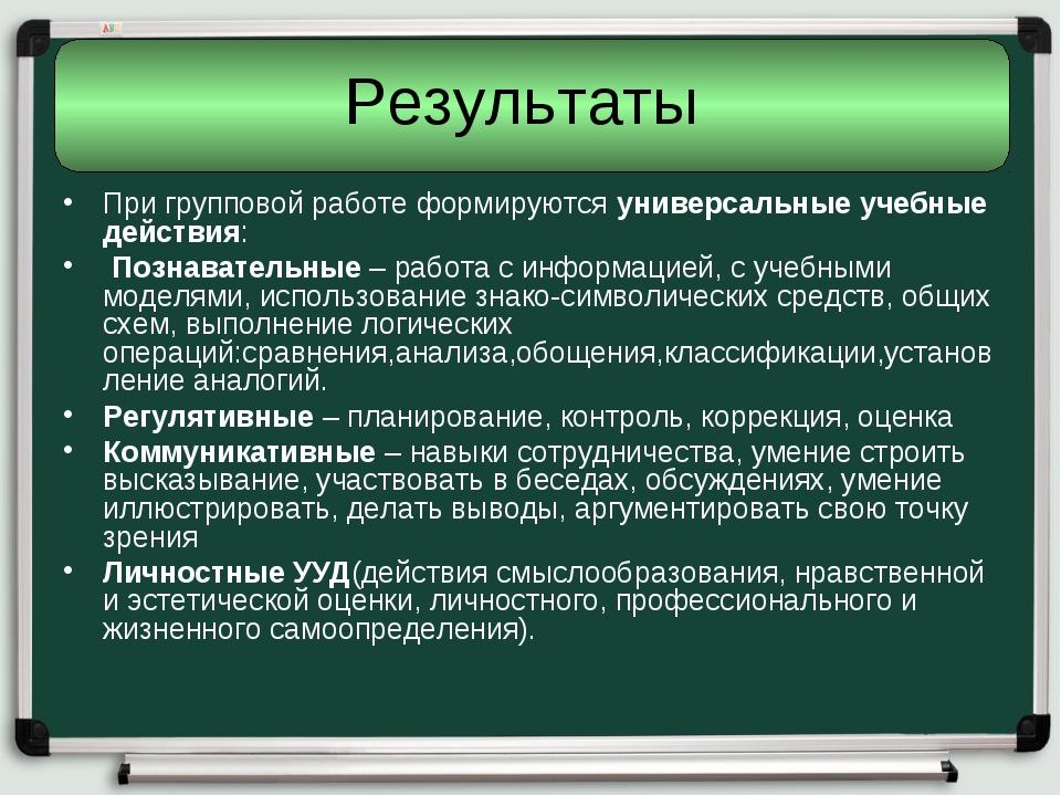 Результаты При групповой работе формируютсяуниверсальные учебные действия: ...