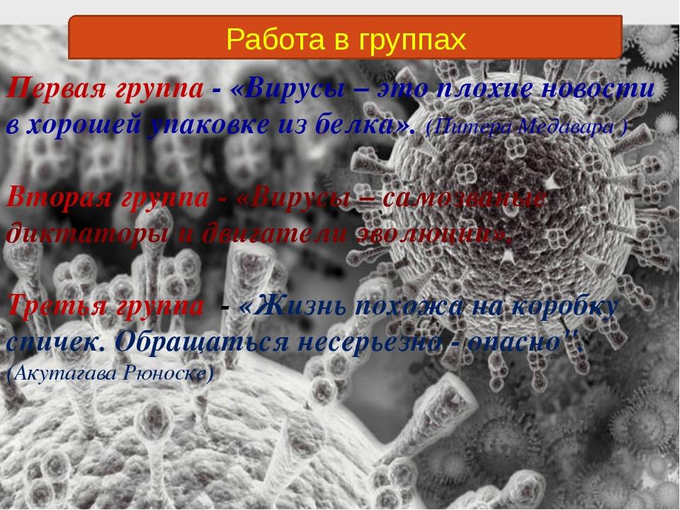Работа в группах Первая группа - «Вирусы – это плохие новости в хорошей упако...