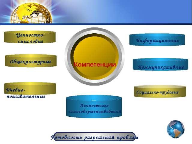 Компетенции Готовность разрешения проблем Ценностно-смысловые Общекультурные...