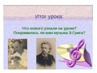 Итог урока: Что нового узнали на уроке? Понравилась ли вам музыка Э.Грига?