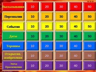 10 Высказывания Персоналии Даты Термины Открытия, изобретения 20 30 40 50 10