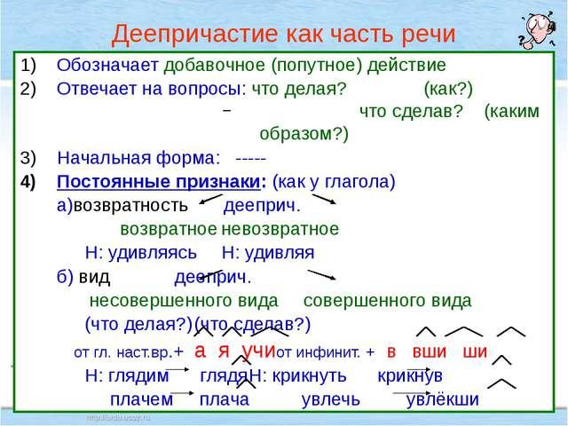 Нефёдова О.Н. Деепричастие как часть речи Обозначает добавочное (попутное) де...