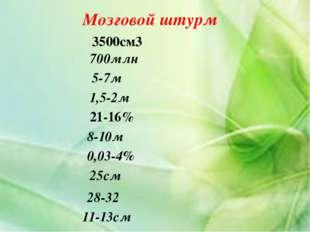 Мозговой штурм 3500см3 700млн 5-7м 1,5-2м 21-16% 8-10м 0,03-4% 25см 28-32 11-